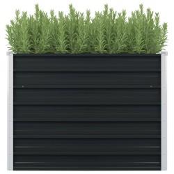 stradeXL Raised Garden Bed Anthracite 100x100x77 cm Galvanised Steel