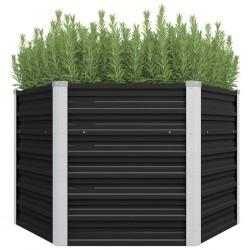 stradeXL Garden Raised Bed Anthracite 129x129x77 cm Galvanised Steel