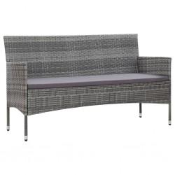 stradeXL 3-osobowa sofa ogrodowa z poduszkami, polirattan, szara