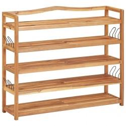 stradeXL 5-Tier Shoe Rack 95x26x80 cm Solid Acacia Wood