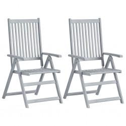 stradeXL Rozkładane krzesła ogrodowe, 2 szt, szare, lite drewno akacjowe