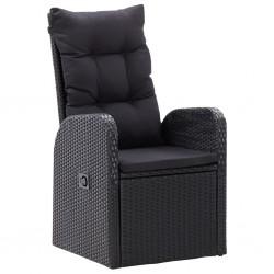 stradeXL Rozkładane krzesła z poduszkami, 2 szt., polirattan, czarne