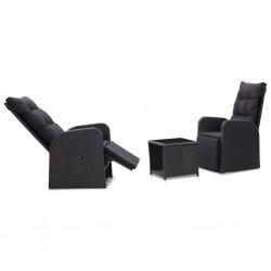 stradeXL 3-częściowy zestaw mebli bistro z poduszkami, rattan PE, czarny