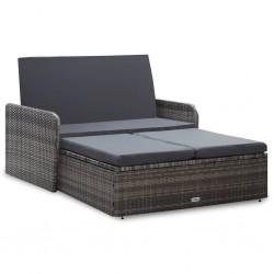stradeXL 2-cz. zestaw wypoczynkowy do ogrodu, poduszki, rattan PE, szary