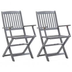 stradeXL Składane krzesła ogrodowe, 2 szt., lite drewno akacjowe