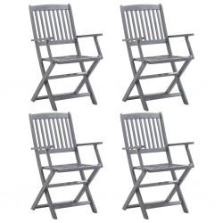 stradeXL Składane krzesła ogrodowe, 4 szt., lite drewno akacjowe