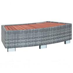 stradeXL Stopień do spa, szary, 92 x 45 x 25 cm, polirattanowy