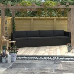 stradeXL 4-częściowa sofa ogrodowa, poduszki, rattan PE, czarna