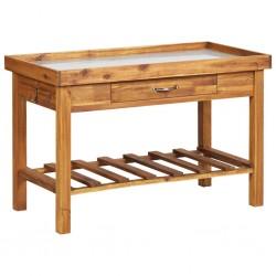 stradeXL Garden Work Bench with Zinc Top Solid Acacia Wood