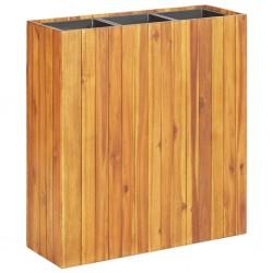 stradeXL Podwyższona donica ogrodowa z 3 wkładami, lite drewno akacjowe