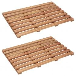 stradeXL Maty łazienkowe, 2 szt., lite drewno akacjowe, 56 x 37 cm