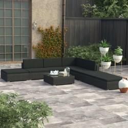 stradeXL 8-cz. zestaw wypoczynkowy do ogrodu, poduszki, rattan PE czarny
