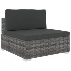 stradeXL Środkowa sofa z poduszką, 1 szt., polirattan, szara