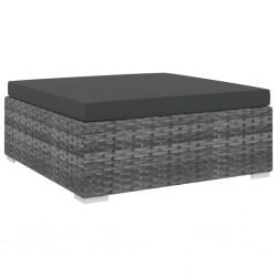 stradeXL Podnóżek modułowy z poduszką, 1 szt., polirattan, szary