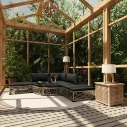stradeXL 6-cz. zestaw wypoczynkowy do ogrodu, poduszki, rattan PE, szary