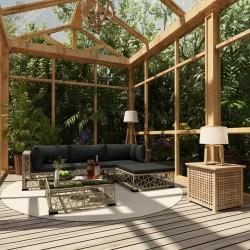 stradeXL 5-cz. zestaw wypoczynkowy do ogrodu, poduszki, rattan PE, szary