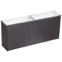 stradeXL Podwyższona donica z 2 wkładami 90x20x40 cm, polirattan, czarna
