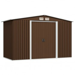 stradeXL Garden Storage Shed Brown 257x205x178 cm Steel