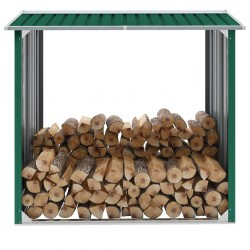 stradeXL Wiata na drewno, stal galwanizowana, 172x91x154 cm, zielona