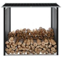 stradeXL Wiata na drewno, stal galwanizowana, 172x91x154 cm, antracyt