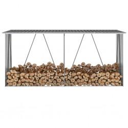 stradeXL Wiata na drewno, stal galwanizowana, 330x84x152 cm, antracytowa