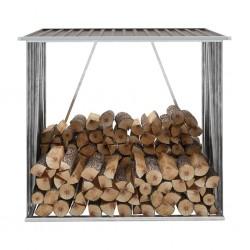 stradeXL Wiata na drewno, stal galwanizowana, 163 x 83 x 154 cm, brązowa