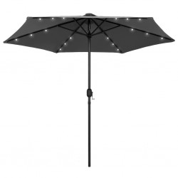 stradeXL Parasol ogrodowy z LED i aluminiowym słupkiem, 270 cm, antracyt