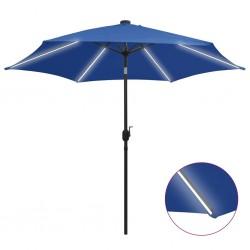 stradeXL Parasol ogrodowy z LED i aluminiowym słupkiem, 300 cm, lazur