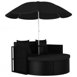 stradeXL Łóżko ogrodowe z parasolem, polirattan, czarne