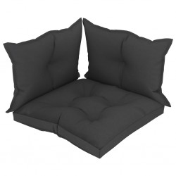 stradeXL Poduszki na sofę z palet, 3 szt., czarne, tkanina