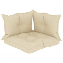 stradeXL Poduszki na sofę z palet, 3 szt., kremowe, tkanina