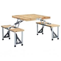 stradeXL Folding Camping Table with 4 Seats Steel Aluminium