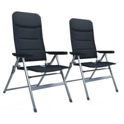 stradeXL Rozkładane krzesła ogrodowe, 2 sztuki, aluminiowe, czarne