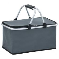 stradeXL Składana torba termiczna, szara, 46x27x23 cm, aluminium
