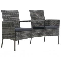 stradeXL Dwuosobowa sofa ogrodowa ze stolikiem, polirattan, antracyt