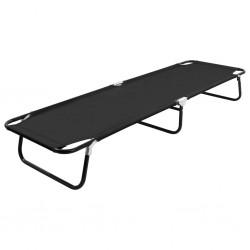 stradeXL Folding Sun Lounger Black Steel