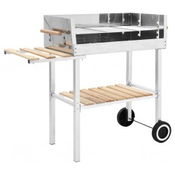 stradeXL XXL Trolley Charcoal BBQ Grill Stainless Steel with 2 Shelves