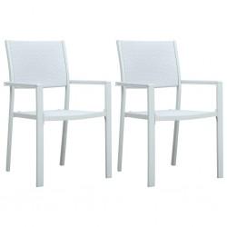 stradeXL Krzesła ogrodowe, 2 szt., białe, plastik stylizowany na rattan