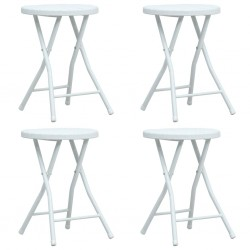 stradeXL Składane stołki ogrodowe, 4 szt., białe, HDPE, rattanowy wygląd