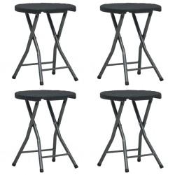stradeXL Składane stołki ogrodowe, 4 szt, czarne, HDPE, rattanowy wygląd