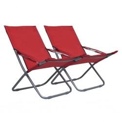 stradeXL Składane krzesła plażowe, 2 szt., tkanina, czerwone