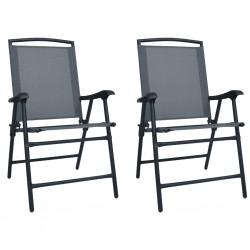 stradeXL Składane krzesła ogrodowe, 2 szt., tworzywo textilene, szare