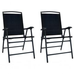 stradeXL Składane krzesła ogrodowe, 2 szt., tworzywo textilene, czarne