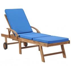 stradeXL Leżak z poduszką, lite drewno tekowe, niebieski