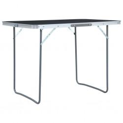 stradeXL Składany stolik turystyczny, szary, aluminiowy, 120 x 60 cm
