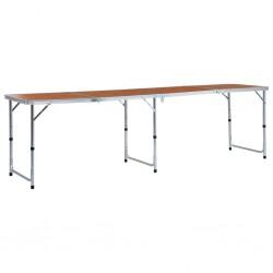 stradeXL Składany stolik turystyczny, aluminiowy, 240x60 cm