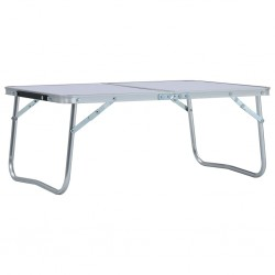 stradeXL Folding Camping Table White Aluminium 60x40 cm