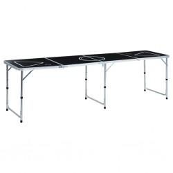 stradeXL Folding Beer Pong Table 240 cm Black