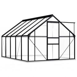 stradeXL Greenhouse with Base Frame Anthracite Aluminium 5.89 m²