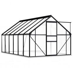stradeXL Greenhouse with Base Frame Anthracite Aluminium 7.03 m²